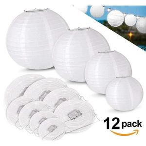 LANTERNE FANTAISIE 12pcs Lampion Papier Blanc Lanterne à Papier Rond