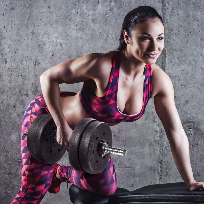 BESPORTBLE Une Paire de Poids D'haltère de 30 kg Avec 16 Plaques D'haltères Ensemble de Fitness Solide Réglable Ensemble