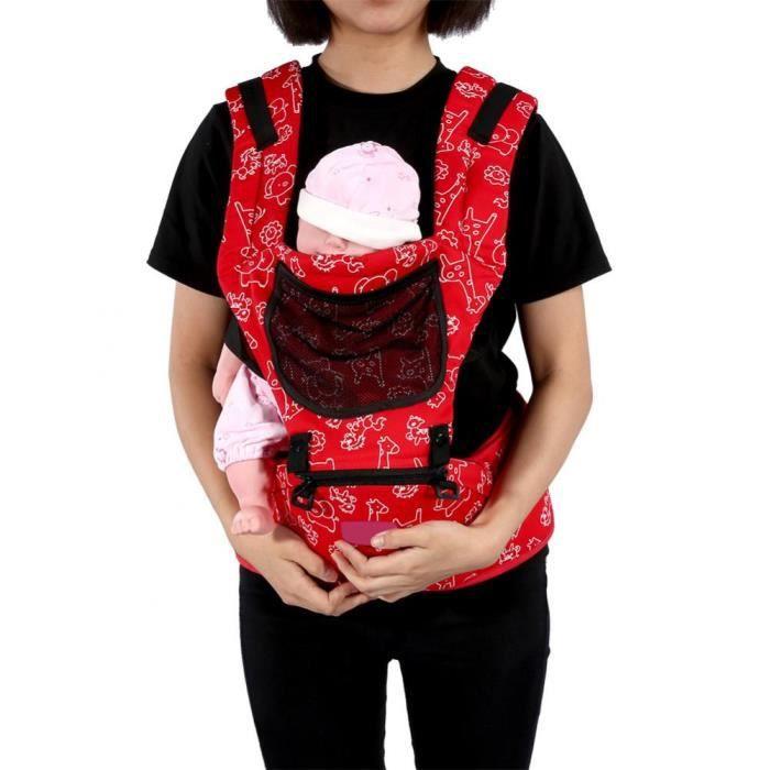 porte-bébé Ergonomique pour nouveau-né Réglable Wrap Sling Sac à dos (Rouge)
