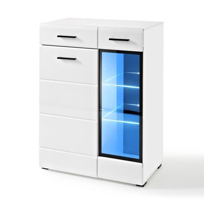 Extreme Furniture Buffet Lauren GL - LED bleues - Blanc Brillant & Blanc - Façades en Brillant - L85cm x H112cm x P41cm