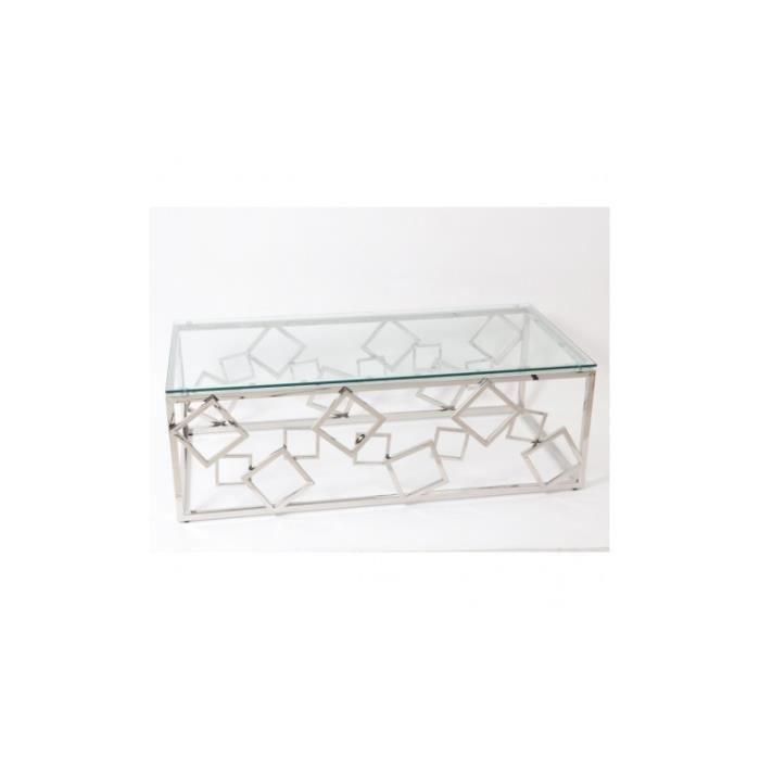 Table basse design verre et acier CORTLAND