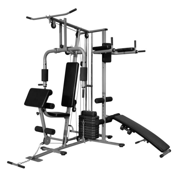 Home® Appareil de musculation multifonctionnel Professionnel - Station de Musculation - Banc de musculation 65 kg ❤9364