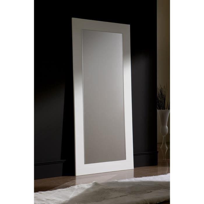 Miroir mural blanc ou noir laqué design JENNY L 200 x H 90 cm Blanc