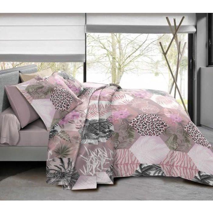 Pack complet Jungle Style Poudré housse de couette pour lit 90 x 190 cm 100% coton / 57 fils/cm²