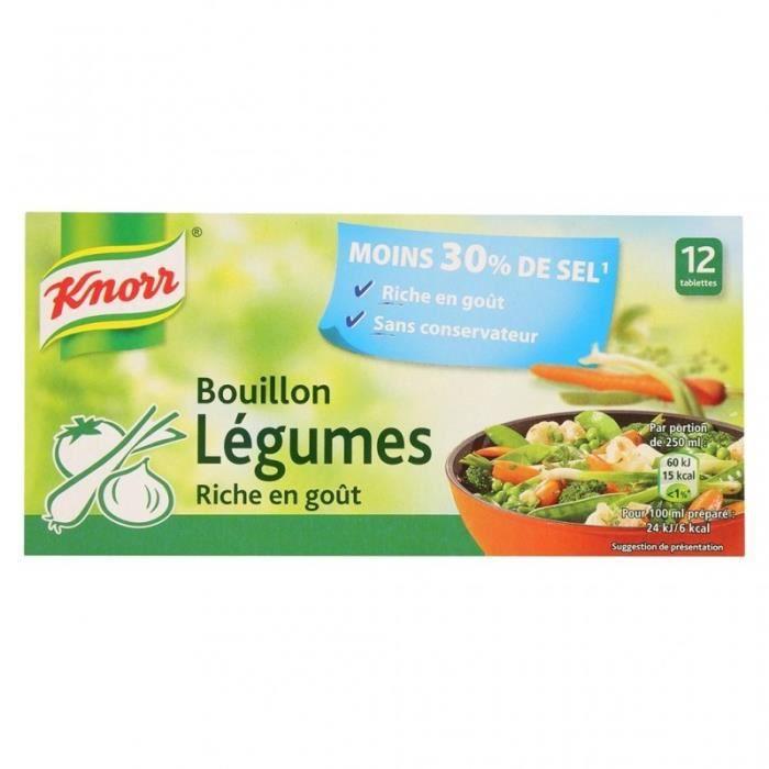 Knorr Bouillon Légumes Riche en Goût Moins 30% de Sel par 12 bouillons de 9,1g (lot de 6)