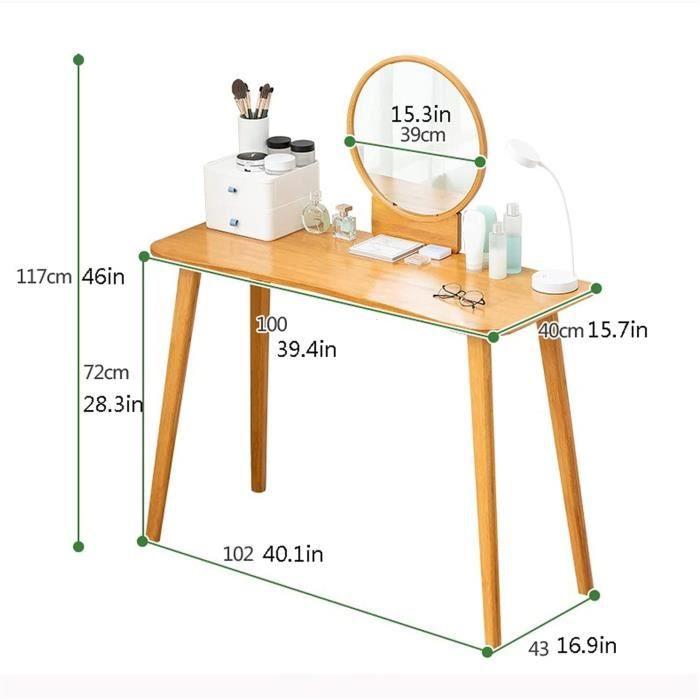 zxb-shop Coiffeuse esseuse en Bois Massif Simple Coiffeuse Petit Appartement Coiffe, Table de Maquillage avec Miroir et Tabour[206]