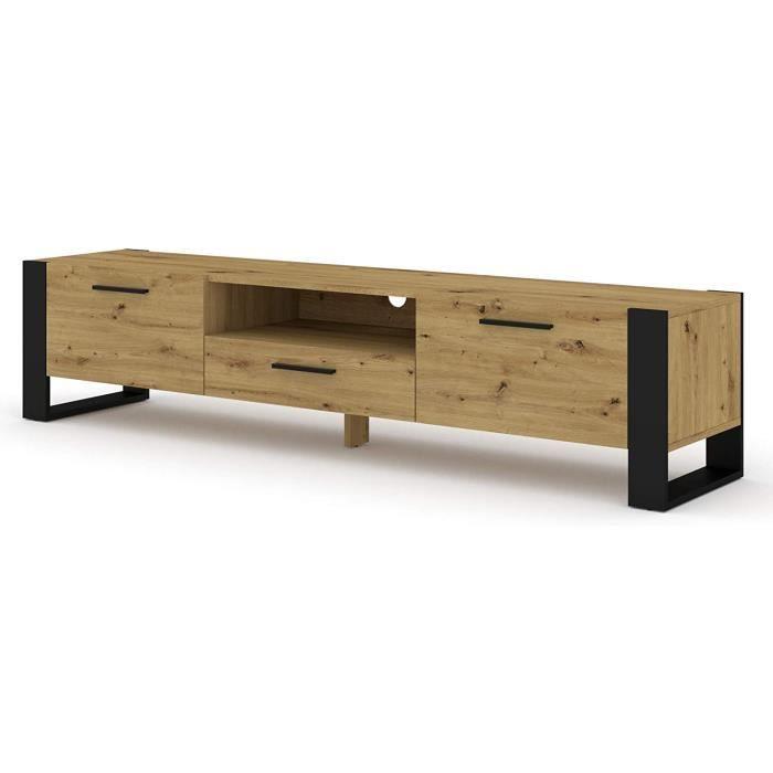 Meuble TV Stand Hi-Fi Nuka 200 cm chêne artisan jambes noires et poignées