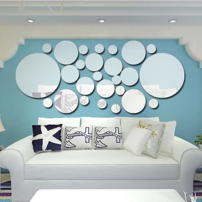 26pcs Stickers mural Miroir en Acrylique DIY Autocollants forme rond argenté Accueil Décoration salon chambre salle d'étude b C6674