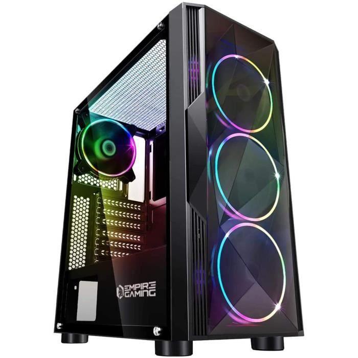 EMPIRE GAMING – Boitier PC Gamer Diamond - ARGB Moyenne Tour ATX – Façade Diamant Plexiglas et Paroi Latérale en Verre Trempé – 4 Ve