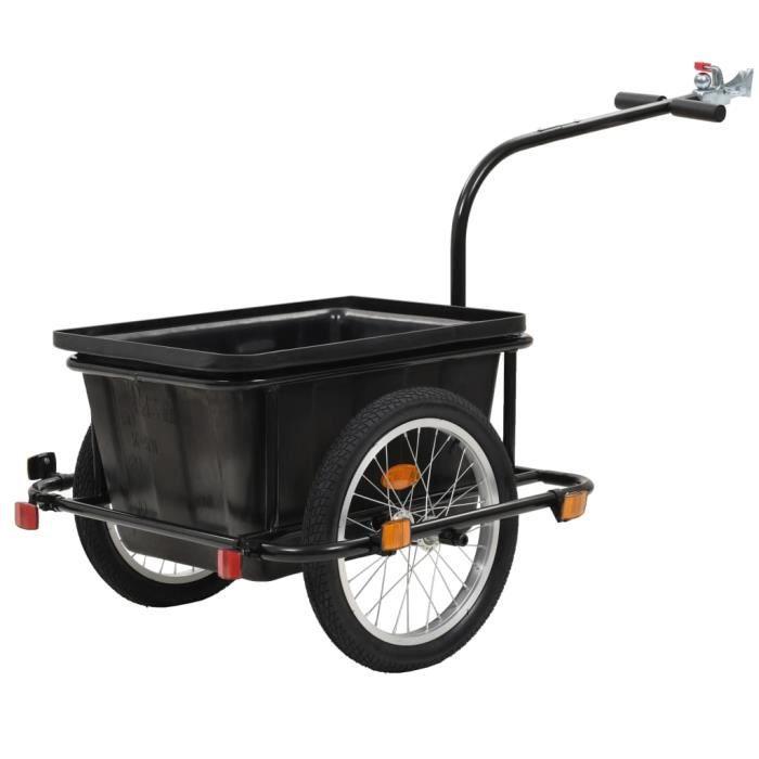 Magnifique -Remorque vélo Remorque de bicyclette Remorque de transport 50 L Noir
