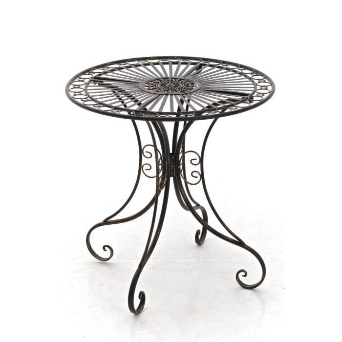 CLP Gracieuse Table de jardin en fer forgé HARI, au style nostalgique, diamètre Ø 70 cm, 6 couleurs au choix73 cm - bronze CLP