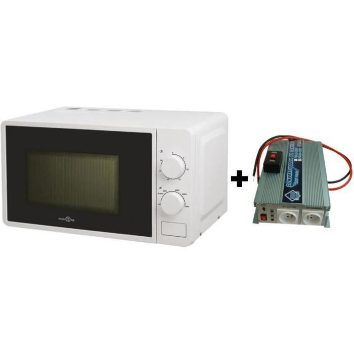 Pack Convertisseur de Tension 12/220V 1200W avec Télécommande - Micro-onde Hign One 220V 20L 700W
