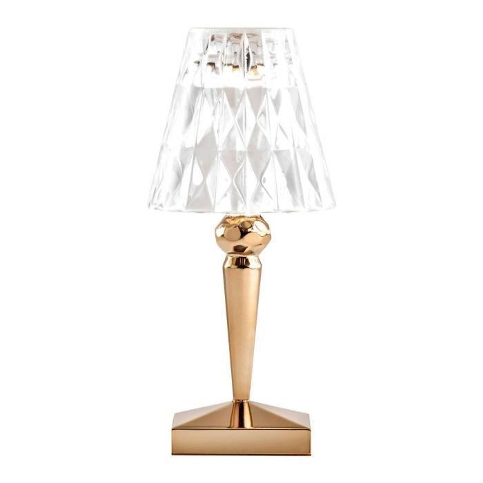 BATTERY-Lampe baladeuse LED d'extérieur rechargeable H22cm or et transparent Kartell - designé par Ferruccio Laviani