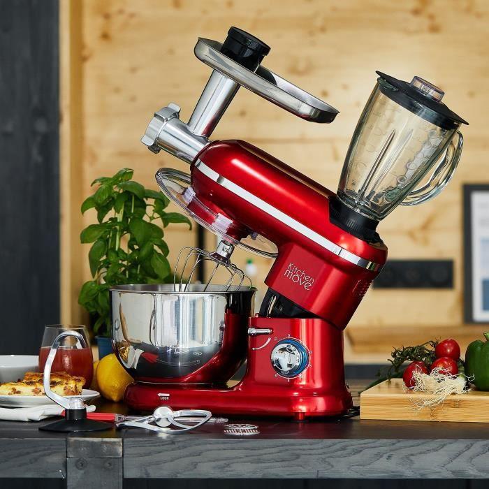 Kitchen Move - Robot patissier hachoir blender multifonction BAT-1519BM - 1500W - Bol 5.5L - DALLAS PRO - Rouge acier