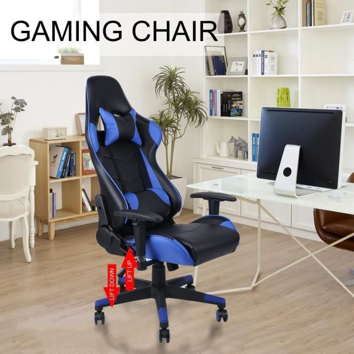 Chaise de bureau d'ordinateur à dossier haut avec [VENTE FLASH] chaise de jeu de soutien lombaire d'appui-tête,bleu
