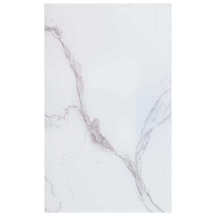 Dessus de table-Plateaux de table Blanc 100x62 cm Verre et texture de marbre