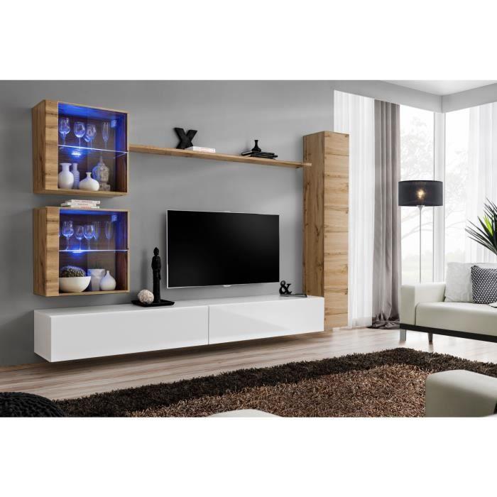 Ensemble meuble salon mural SWITCH XVIII design, coloris blanc brillant et chêne Wotan. 40 Blanc