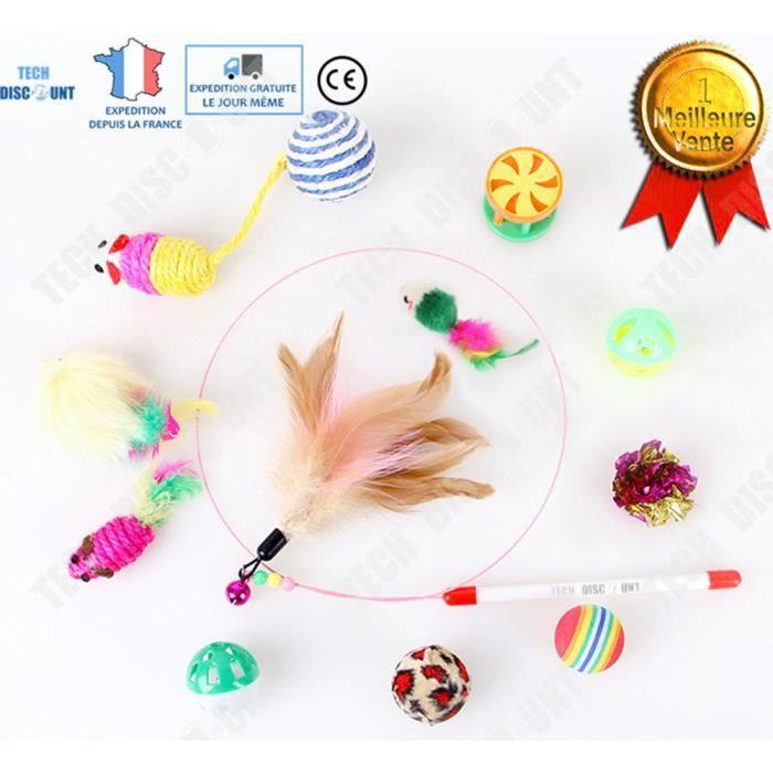 TD® ensemble de jouets pour chats animaux interactifs pas cher a plumes souris canne a peche balle lot chenille set pack 12 Pieces