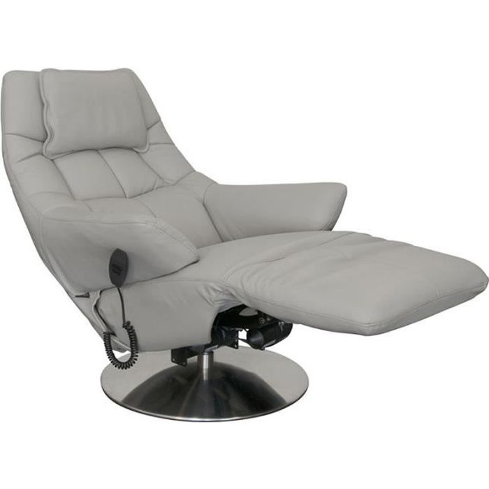Fauteuil de relaxation électrique Cuir Gris clair - THADER - L 83 x l 86 x H 111