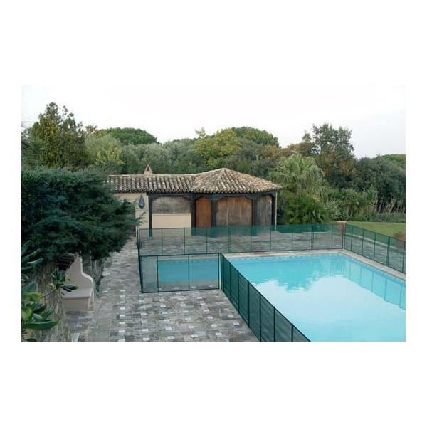 Barri re de piscine beethoven verte avec piquets anodis s for Barriere piscine souple