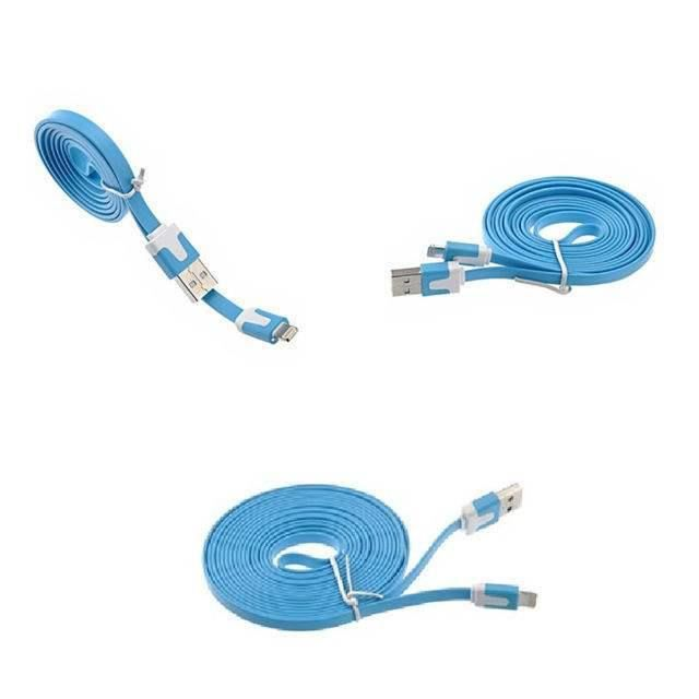 cable usb pour chargeur apple iphone 5 5s 5c bleu achat. Black Bedroom Furniture Sets. Home Design Ideas