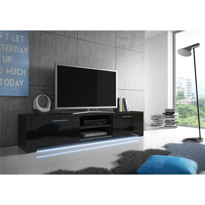 meuble tv bendi noir mat noir brillant led achat vente meuble tv meuble tv bendi noir. Black Bedroom Furniture Sets. Home Design Ideas