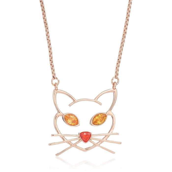 Betsey Johnson Womens Cz Stone Cat Pendant Necklace WEFYH