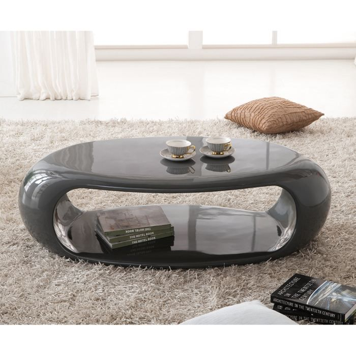 table basse moderne liora laquee ovale gris achat. Black Bedroom Furniture Sets. Home Design Ideas