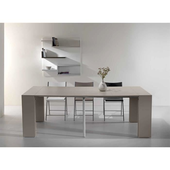 Table console extensible capri taupe 4 allonges salon salle manger - Table salle a manger console extensible ...