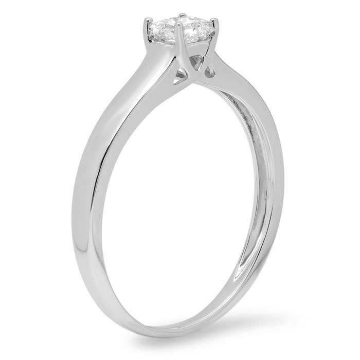 Bague Femme Diamants 0.25 ct14 ct 585-1000 Or Blanc Princess Diamants Lucida Solitaire1-4 ct