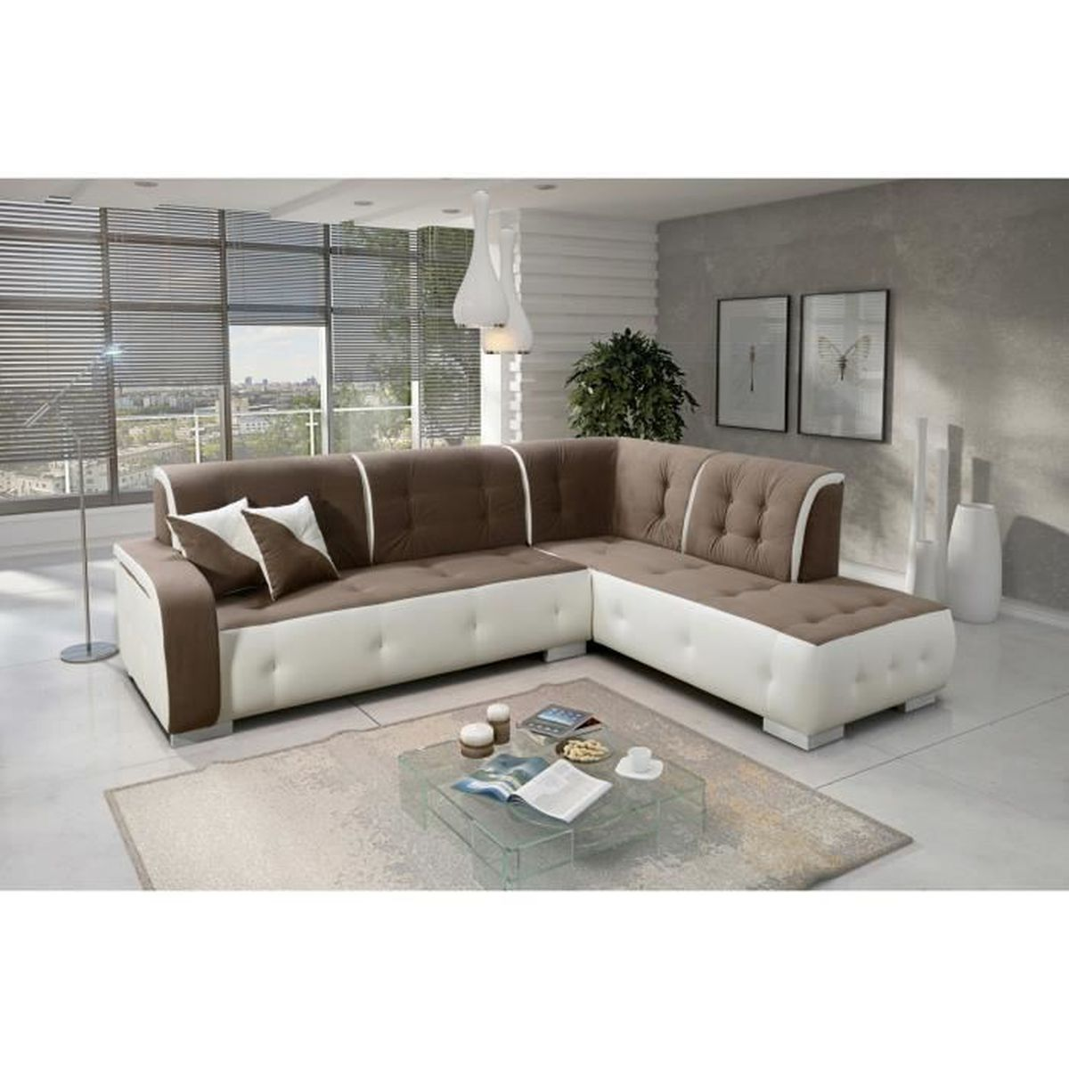 canap d 39 angle droit florida taupe et blanc achat vente canap sofa divan cdiscount. Black Bedroom Furniture Sets. Home Design Ideas