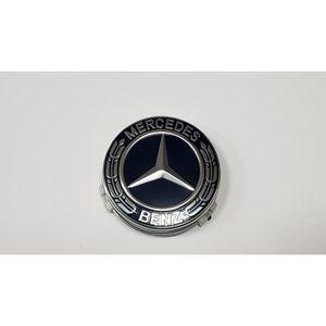 DÉCORATION VÉHICULE 4x Logo Jante Mercedes Benz Noir Argent 75mm Cache
