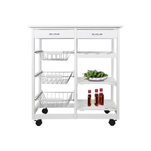 DESSERTE - BILLOT @Bonachat chariot de cuisine Blanc avec 2 tiroirs