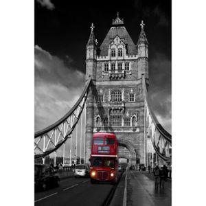 Sticker porte déco trompe l/'oeil London Bridge Bus réf 614 4 Tailles au choix