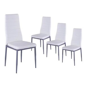 lot de 4 chaises blanches assise pvc achat vente lot de 4 chaises blanches assise pvc pas. Black Bedroom Furniture Sets. Home Design Ideas