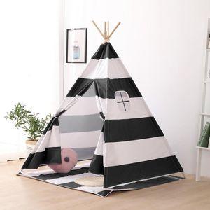 TENTE TUNNEL D'ACTIVITÉ Tente tipi pour enfant - H150 cm - Noir et blanc