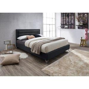 STRUCTURE DE LIT Lit ERIC 160x200 cm en simili cuir et coloris noir