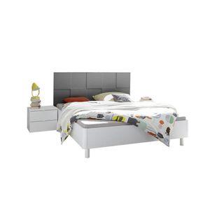 STRUCTURE DE LIT Cadre + Tête de lit 180*200 Blanc-Gris mat - TICAT