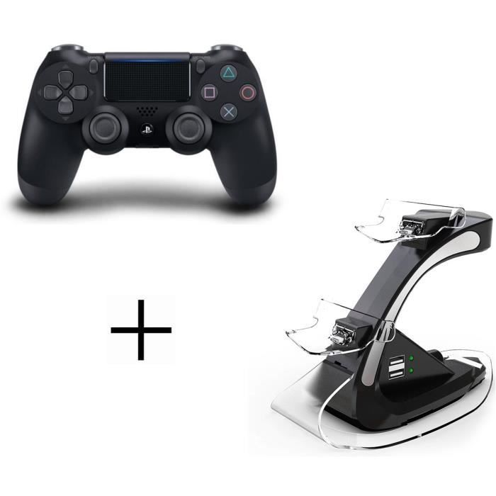 Manette DualShock 4 Sony + Station de Recharge Steelplay pour PS4