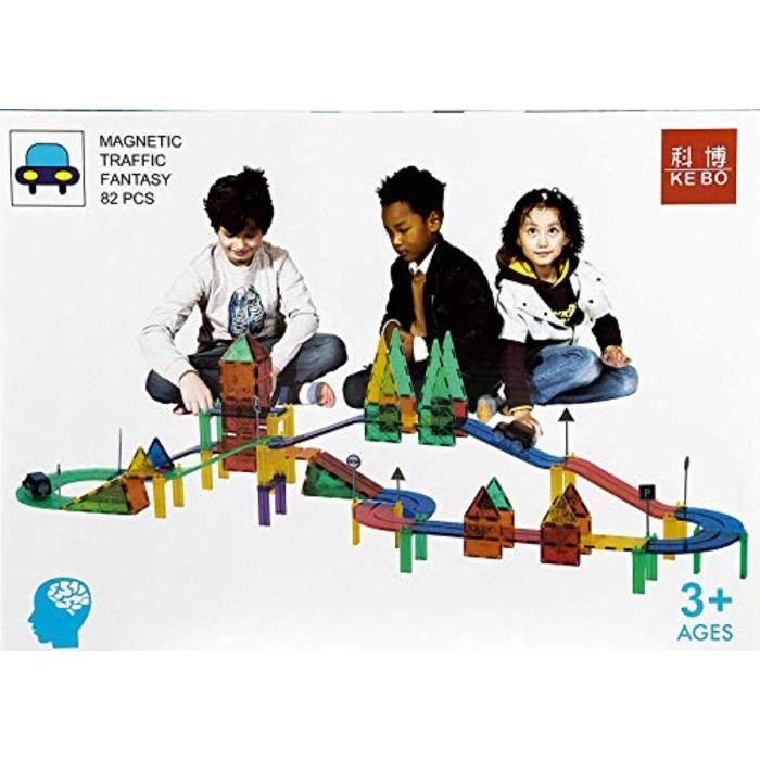 Jeu D'Assemblage U7TM6 playmager magnétique piste de voiture de construction tuiles de construction 82 pièce de jeu pour jouet éduca