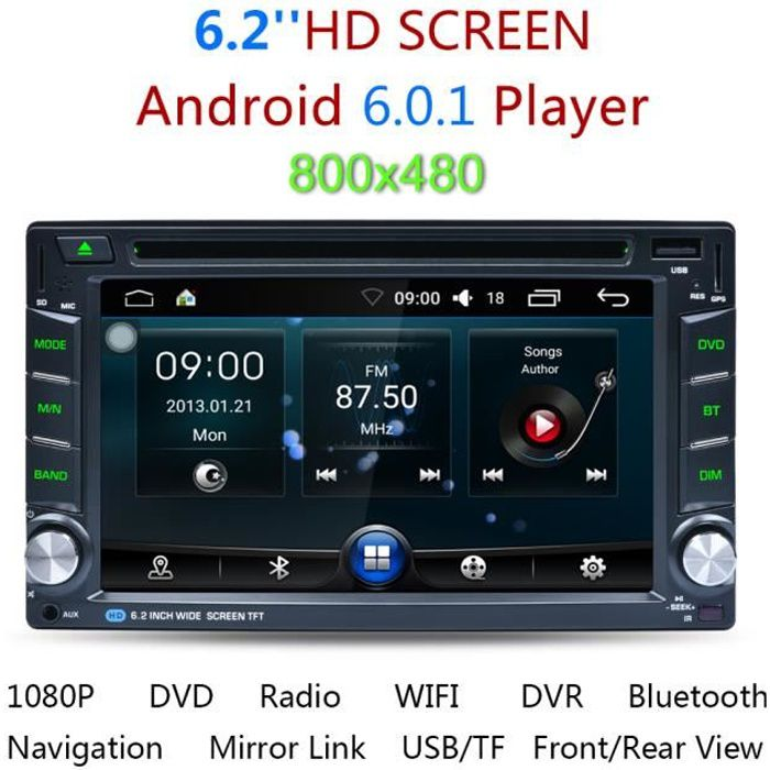 """Autoradio 6.2"""" Dual Core Double 2 DIN Android 6.0 HD Voiture DVD GPS Stereo AM/FM/RDS Radio Lecteur multimédia Bluetooth 3G WIFI"""