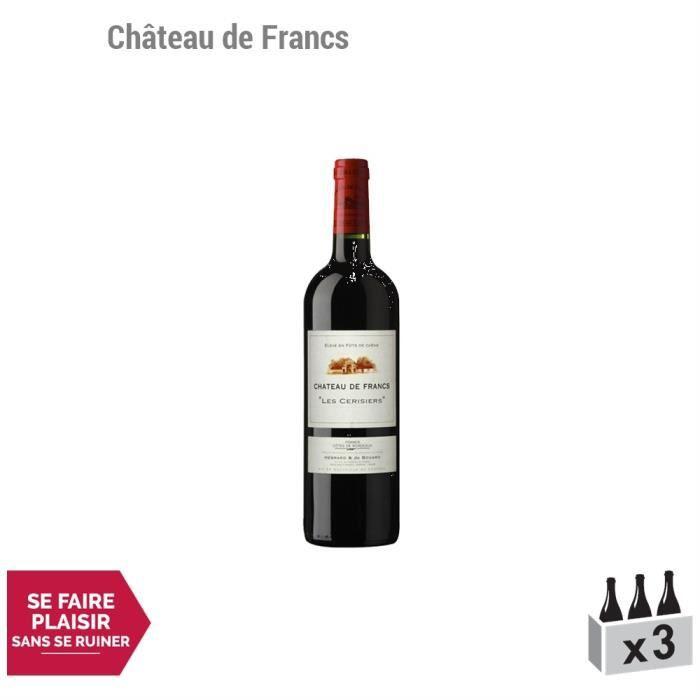 Château de Francs Les Cerisiers Rouge 2012 - Lot de 3x75cl - Appellation AOC Côtes de Bordeaux Francs - Vin Rouge de Bordeaux -