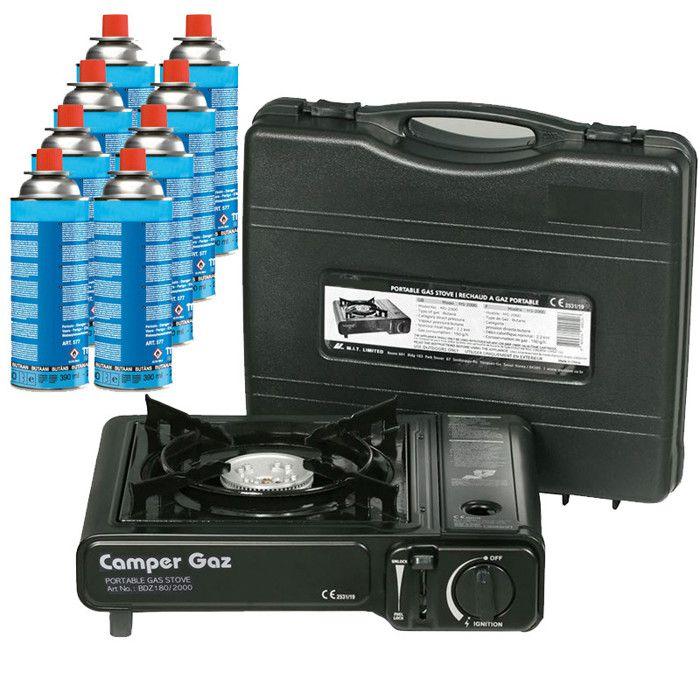 Rechaud gaz portable 2200W CAMPER GAZ + 8 cartouches de gaz camping 227gr