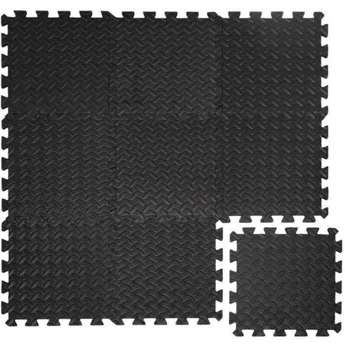 Protections Sol en mousse EVA 10mm d'épaisseur Tapis Puzzle de Fitness sport composé de 9 fragments dimension 0,81qm extensible Noir