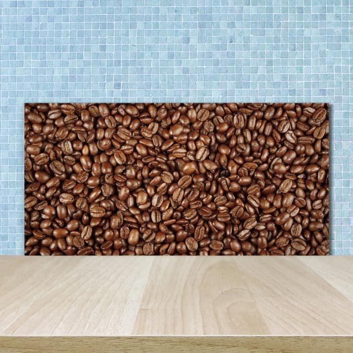 Tulup 100x50cm Crédence de cuisine sur verre sécurité:- Nourriture boissons - Grains De Café - Brun Beige