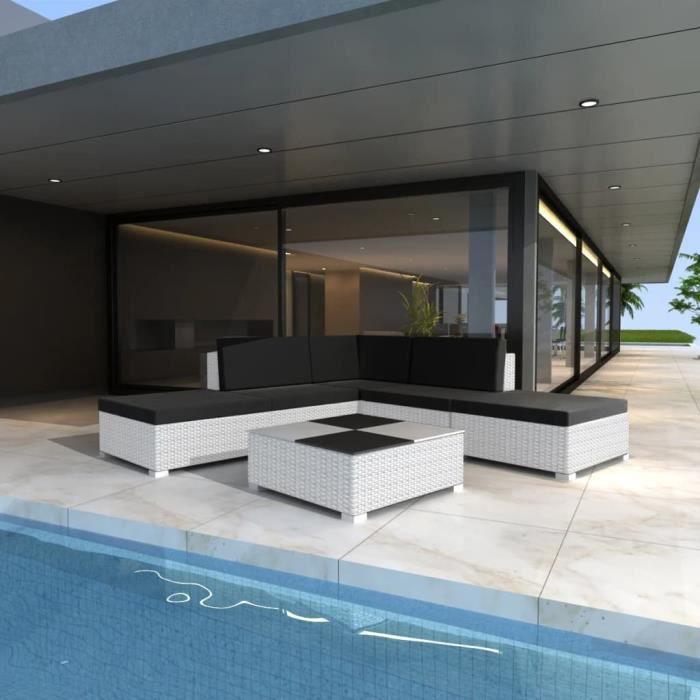 Luxueux - Salon de jardin 6 pcs - Ensemble repas de jardin - Mobilier de jardin avec coussins Résine tressée Blanc #25198