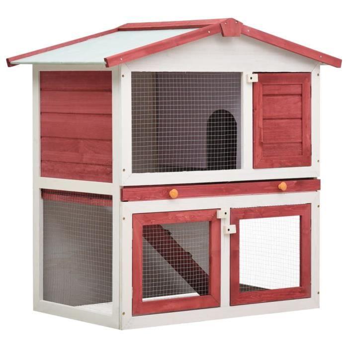 Clapier cage à lapins rongeurs poulailler pour petits animaux de compagnie d'extérieur 3 portes Rouge Bois