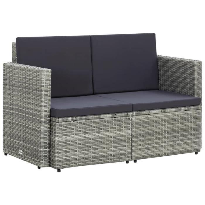 MAISON - Canapé de jardin à 2 places - Sofa de salon Banquette de jardin Canapé avec coussins Gris Résine tressée Classique - 65240