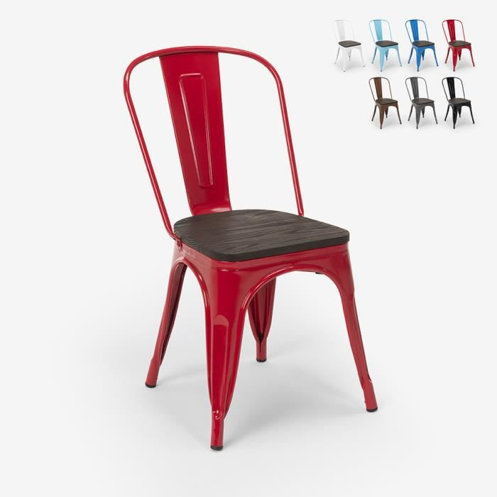 Chaises industrielles en bois et acier Tolix pour cuisine et bar STEEL WOOD - couleur:Rouge