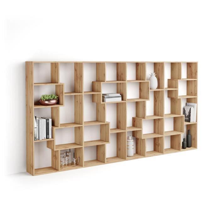 Mobili Fiver, Bibliothèque L Iacopo (160,8 x 314,6 cm), Bois Rustique, Mélaminé, Made in Italy